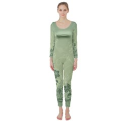 Wonderful Flowers In Soft Green Colors Long Sleeve Catsuit