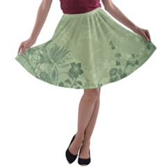 Wonderful Flowers In Soft Green Colors A Line Skater Skirt