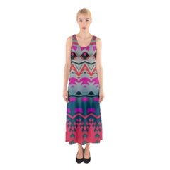 Waves and other shapes Full Print Maxi Dress