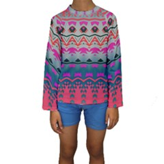 Waves and other shapes  Kid s Long Sleeve Swimwear