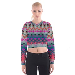 Waves and other shapes   Women s Cropped Sweatshirt