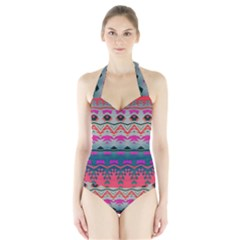 Waves and other shapes Women s Halter One Piece Swimsuit