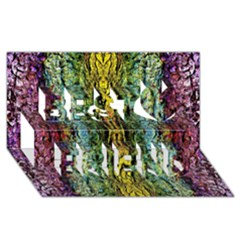 Abstract, Yellow Green, Purple, Tree Trunk Best Friends 3D Greeting Card (8x4)