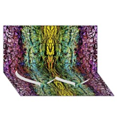 Abstract, Yellow Green, Purple, Tree Trunk Twin Heart Bottom 3d Greeting Card (8x4)