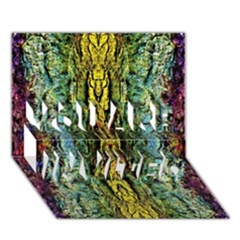 Abstract, Yellow Green, Purple, Tree Trunk YOU ARE INVITED 3D Greeting Card (7x5)