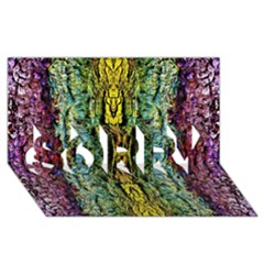 Abstract, Yellow Green, Purple, Tree Trunk SORRY 3D Greeting Card (8x4)
