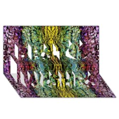 Abstract, Yellow Green, Purple, Tree Trunk Best Wish 3d Greeting Card (8x4)