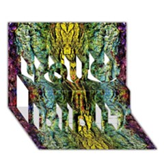 Abstract, Yellow Green, Purple, Tree Trunk You Did It 3d Greeting Card (7x5)