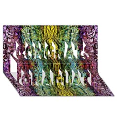 Abstract, Yellow Green, Purple, Tree Trunk Congrats Graduate 3d Greeting Card (8x4)