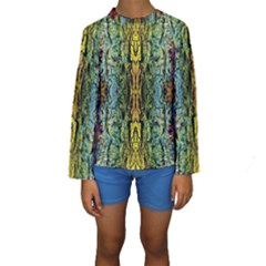 Abstract, Yellow Green, Purple, Tree Trunk Kid s Long Sleeve Swimwear