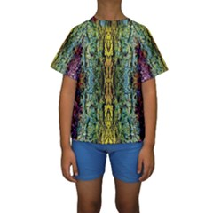 Abstract, Yellow Green, Purple, Tree Trunk Kid s Short Sleeve Swimwear