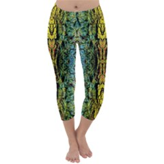 Abstract, Yellow Green, Purple, Tree Trunk Capri Winter Leggings