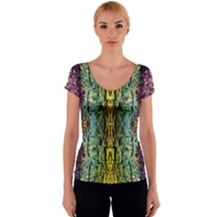 Abstract, Yellow Green, Purple, Tree Trunk Women s V-Neck Cap Sleeve Top