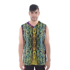 Abstract, Yellow Green, Purple, Tree Trunk Men s Basketball Tank Top