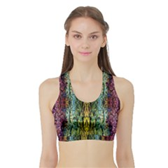 Abstract, Yellow Green, Purple, Tree Trunk Women s Sports Bra with Border