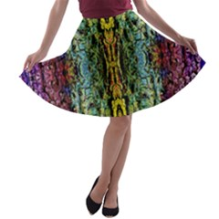 Abstract, Yellow Green, Purple, Tree Trunk A Line Skater Skirt