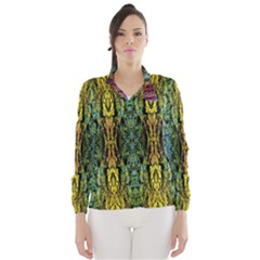 Abstract, Yellow Green, Purple, Tree Trunk Wind Breaker (Women)