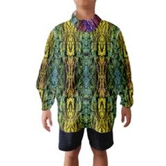 Abstract, Yellow Green, Purple, Tree Trunk Wind Breaker (Kids)