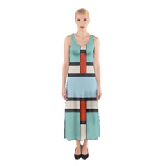 Vertical And Horizontal Rectangles Full Print Maxi Dress