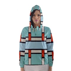 Vertical and horizontal rectangles Hooded Wind Breaker (Women)