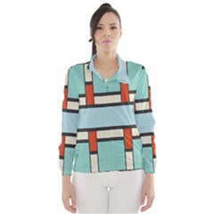 Vertical And Horizontal Rectangles Wind Breaker (women)