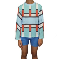 Vertical and horizontal rectangles  Kid s Long Sleeve Swimwear