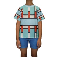 Vertical and horizontal rectangles  Kid s Short Sleeve Swimwear