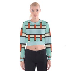 Vertical and horizontal rectangles   Women s Cropped Sweatshirt