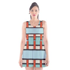Vertical and horizontal rectangles Scoop Neck Skater Dress