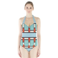Vertical And Horizontal Rectangles Women s Halter One Piece Swimsuit