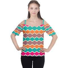 Colorful Chevrons Pattern Women s Cutout Shoulder Tee
