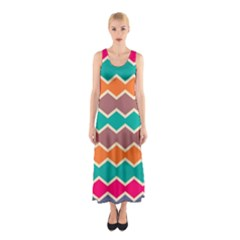 Colorful Chevrons Pattern Full Print Maxi Dress