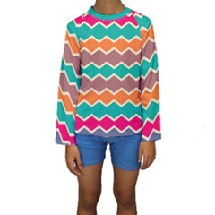 Colorful chevrons pattern  Kid s Long Sleeve Swimwear