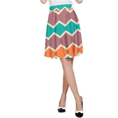 Colorful Chevrons Pattern A Line Skirt