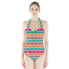Colorful Chevrons Pattern Women s Halter One Piece Swimsuit