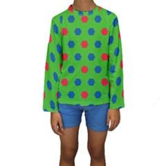 Honeycombs pattern  Kid s Long Sleeve Swimwear