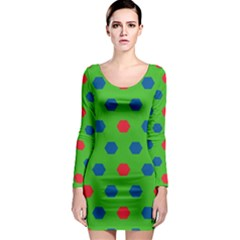 Honeycombs pattern Long Sleeve Bodycon Dress