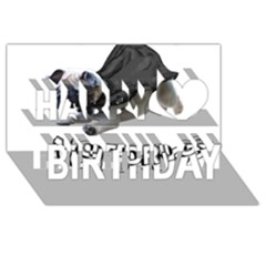 Do Pugs Happy Birthday 3D Greeting Card (8x4)