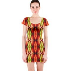 Melons Pattern Abstract Short Sleeve Bodycon Dresses