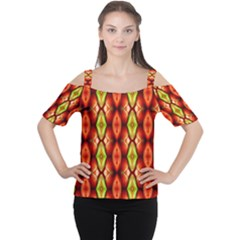 Melons Pattern Abstract Women s Cutout Shoulder Tee