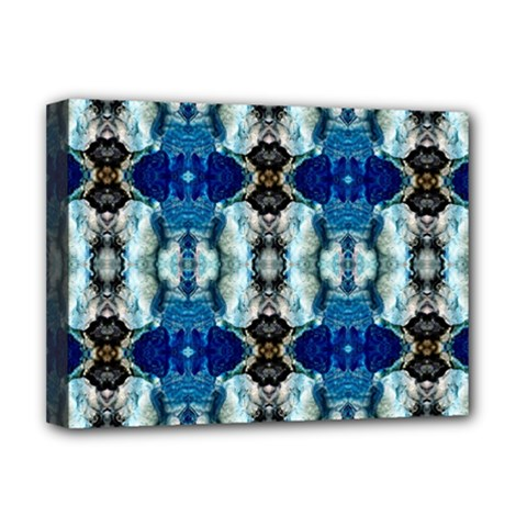 Royal Blue Abstract Pattern Deluxe Canvas 16  x 12