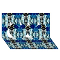 Royal Blue Abstract Pattern Twin Hearts 3D Greeting Card (8x4)
