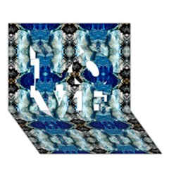 Royal Blue Abstract Pattern LOVE 3D Greeting Card (7x5)