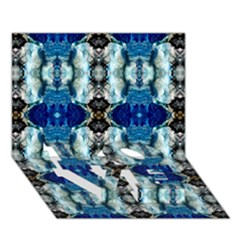 Royal Blue Abstract Pattern LOVE Bottom 3D Greeting Card (7x5)
