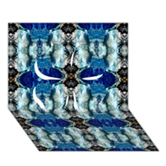 Royal Blue Abstract Pattern Clover 3d Greeting Card (7x5)