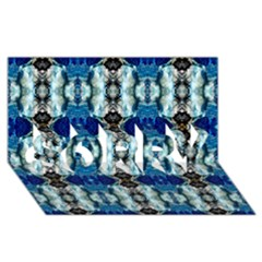 Royal Blue Abstract Pattern SORRY 3D Greeting Card (8x4)