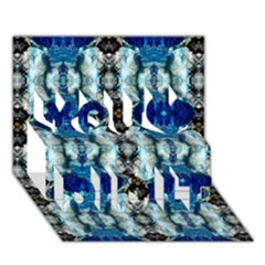Royal Blue Abstract Pattern You Did It 3D Greeting Card (7x5)