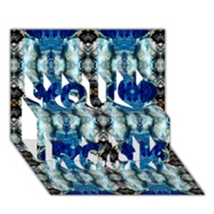Royal Blue Abstract Pattern You Rock 3D Greeting Card (7x5)