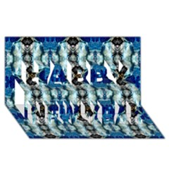 Royal Blue Abstract Pattern Happy New Year 3D Greeting Card (8x4)
