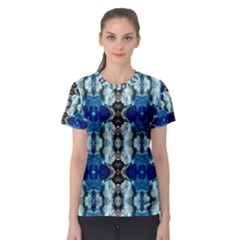 Royal Blue Abstract Pattern Women s Sport Mesh Tees